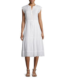 Sleeveless Pintucked Lace-Trim Midi Dress, White