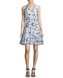 Silk Fit-and-Flare Meteor-Print Dress, Indigo/Sea Salt