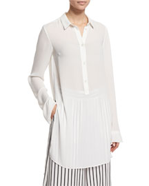 Long-Sleeve Tunic Blouse, Ivory