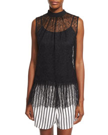 Sleeveless Lace Ruffle Blouse, Black