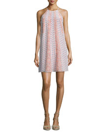 Amanda Floral Silk Shift Dress, Peach Tint