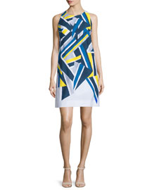 Sleeveless Inkblot Printed Dress, Citron