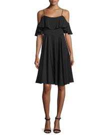 Emmaline Cold-Shoulder A-Line Dress, Black