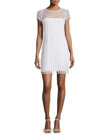 Chloe Square-Eyelet Cotton Mini Dress, White