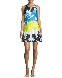 Floral-Print Fit-&-Flare Dress, Multi Colors