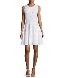 Dot-Print Fit-&-Flare Dress, Ivory/Black