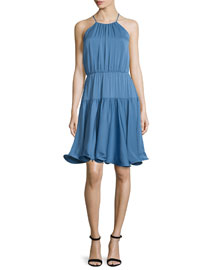 Madison Sleeveless Tiered Sundress, Steel Blue