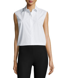 Sleeveless Collared Poplin Shirt, White