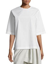 Dilys Oversized Stretch Poplin Shirt, White