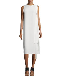 Sleeveless Matte Silk Shift Dress, Off White