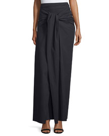 Silvie Tie-Front Poplin Maxi Skirt, Black