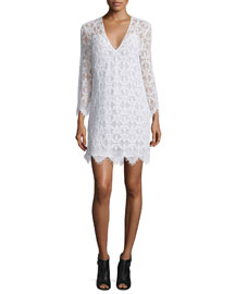 Le Lace Long-Sleeve Sheath Dress, Blanc