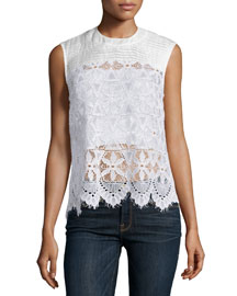 Le Lace Sleeveless Top, Blanc