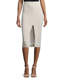 Spiga Ponte Front-Slit Pencil Skirt, Tan
