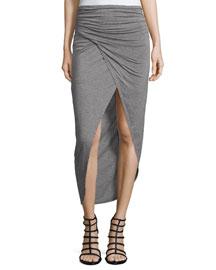 Tiana Ruched Midi Skirt, Heather Gray