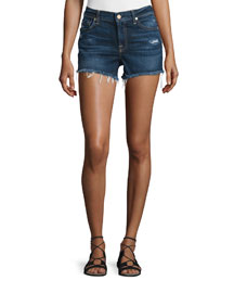 Mid-Rise Cut-Off Denim Shorts, Blue