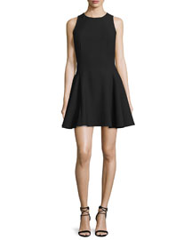 Sleeveless Fit-&-Flare Mini Dress, Black