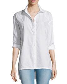 Le Oversized Button-Front Blouse, Blanc
