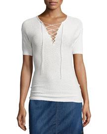 Le Crochet Lace-Up Top, Blanc