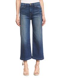 Le Capri Crop Wide-Leg Jeans, Plum Beach