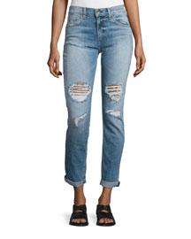 Dre Distressed Rolled-Cuff Jeans, Carter