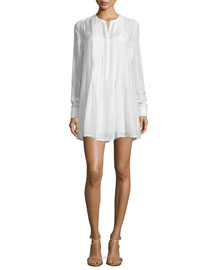 Le Victorian Button-Front Shirtdress, Blanc
