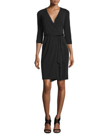 New Julian Two Matte Jersey Wrap Dress, Black