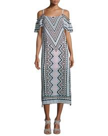 Cold-Shoulder Chevron Midi Dress, Natural/Multi
