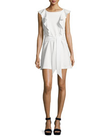 Millette Ruffle-Trim Mini Dress, Ivory