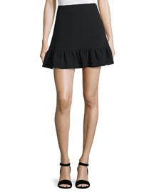 Piper Flounce-Hem Mini Skirt, Black