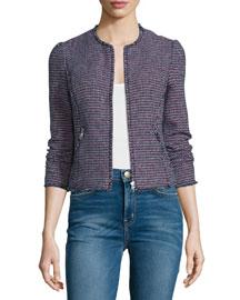 Fitted Zip-Front Tweed Jacket, Navy