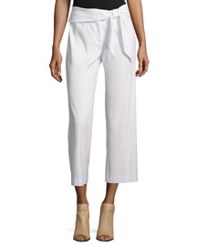 Imperial Cropped Tie-Waist Pants, Ivory