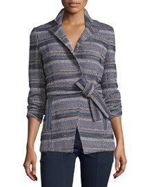 Pamona Surplice Tweed Jacket, Ivory/Navy