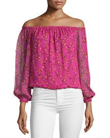 Kamber Shalamar Trellis Off-the-Shoulder Silk Top, Pink