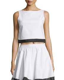 Emmalyn Sleeveless Boxy Silk-Trim Top, White/Black