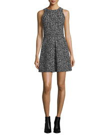 Janette Sleeveless Tweed A-Line Dress, Black/Cream