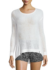 Harpo Angled Mesh-Knit Sweater, White