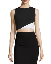 Cathleen Ponte Colorblock Crop Top, Black/White
