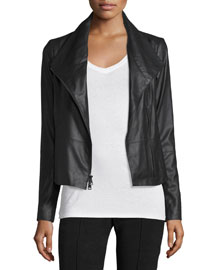 Asymmetric-Zip Leather Scuba Jacket, Black