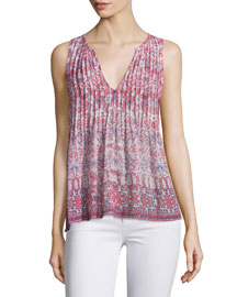 Axton Pleated-Front Printed Silk Top
