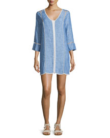 Warby Washed Denim Contrast-Stitch Dress