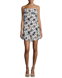 Romy Strapless Floral Silk Mini Dress, White/Multicolor