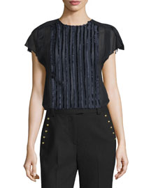Cap-Sleeve Fringe Fil Coupe Top, Navy