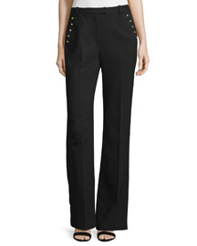 Sailor-Button Flared Wool Pants, Black