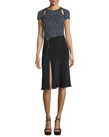 Short-Sleeve Combo Sheath Dress, Navy