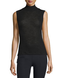 Sheer Wool Ribbed Turtleneck Top, Black