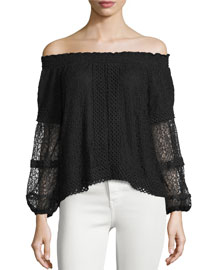 Vita Off-The-Shoulder Lace Top, Black