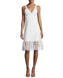 Tiana Sleeveless Lace Flounce Dress, White