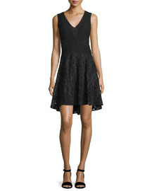 Fiorenza Sleeveless Lace A-Line Dress, Black