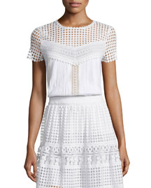 Lauryn Short-Sleeve Plisse Top, White